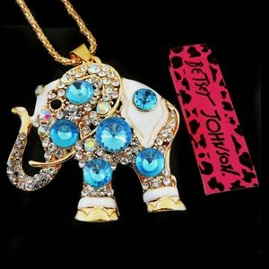 Betsey Johnson Blue Crystal Elephant Necklace -NWT
